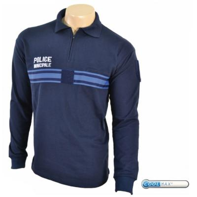 POLO COOLMAX® COL ZIP MANCHES LONGUES